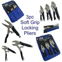 US PRO 3pc Locking Plier Set Long Nose & Curved Jaw Mole Vice Vise Grips 2074
