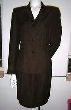 KATE HILL Women's Dark Brown Sz. 4 / S Career Suit Skirt & Blazer made of Linen