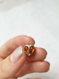 Solid Silver and Amber Heart Charm