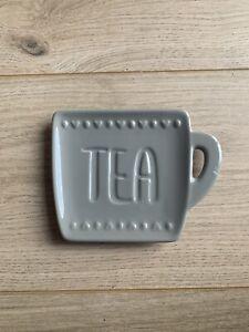 Grey ceramic Spoon Rest tea bag holder Kitchen heart large