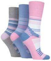 3 Pairs Ladies Pink Blue Grey Light Striped Cotton Gentle Grip Socks, Size 4-8