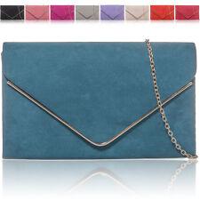 New Ladies Evening Women Faux Suede Clutch Bag Bridal Designer Party Handbags UK