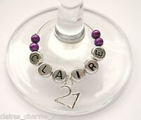 Personalised Age/Birthday Wine Glass Charm - 18th/21st/30/40/50/60/70/80th