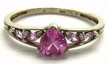 Sterling Silver Gold Tone Heart Pink Sapphire Diamond Petite Love Cocktail Ring