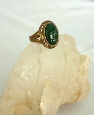 Vintage Seta ring green stone gold plated with Greek key design