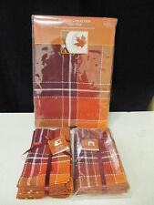 "Homewear Autumn Taylor Plaid 9PC 60"" x 120"" Oblong Tablecloth 8 Napkins    NIP"