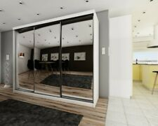 Brand New Modern Wardrobe Sliding Door with Mirror Barcelona 2 in White 250cm