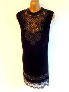 Monsoon 16 Black velvet bead embellished scalloped hem occasion dress (3518