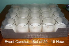 Event Candles Bulk - unscented Clear acrylic cup 15 hours - Wedding - x20 - CA05