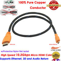 3FT Feet Foot High Speed Micro-HDMI Cable 3D & 4K Resolution Ready