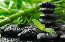 Framed Print - Black Meditation Healing Stones (Picture Poster Yoga Mind Art)