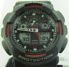 G-Shock Casio GA100-1A4 Sports watch with red contrast, circular cutout on hands