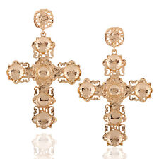US Fashion Gothic Statement Gold Plated Big Cross Drop Earrings Dangle Earring