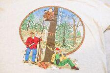 Vintage 1997 Hunter Deer Print Comic Shirt XL Fruit Of The Loom Animals