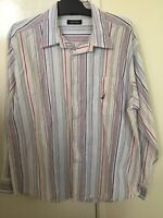 Nautica Men's Long Sleeve Button Shirt Striped Size Large W48226 100% Cotton