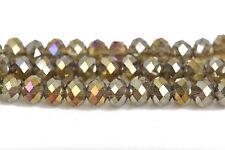 8mm Rondelle Crystal beads fct Topaz AB Met Rainbow Transp  72 beads bgl1464