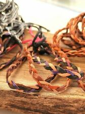 Plaited Duo Coloured Leather Bracelets, Set of 2, Plain Leather Wristband, Boho