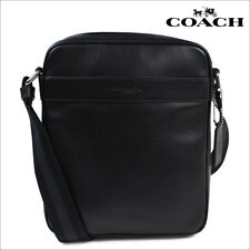 NWT COACH MENS F54782 LEATHER SHOULDER CROSSBODY FLIGHT BAG Black