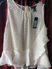 Ladies Cream Chiffon Sleeveless Blouse, Vest Top - Size 14 - BNWT - New Look
