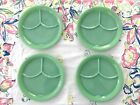 4 Jadeite Fire King Restaurant Ware Divided 3 Section Dinner Plates Thick Heavy