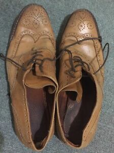 Mens Well Worn Lace-up Shoes. Tan Leather Brogues. Size 10.5(45). Tatty