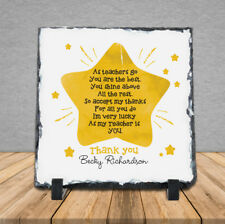 Personalised Thank You Poem Teacher School Rock Slate Gift Lucky Star Shine Mrs