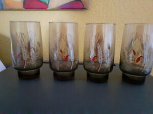 4 verres à jus vintage Arcopal décor épi de blé