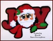 CHRISTMAS JOY SANTA title premade scrapbook paper piecing set  by Rhonda