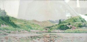 Shinzo Kawai, Antique Framed Watercolor on Paper, 1867-1936, Japanese Art