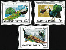 1977 Hungary 'Crested/Congo/Green Peafowl' Birds Stamps set of 3 - Used/Unhinged
