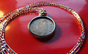 """1994 Irish Lucky Coin Pendant on a 28"""" Sterling Silver Link Style Chain."""