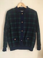 Vintage Alfred Dunner Plaid Navy Green Sweater with Gold Buttons M Medium