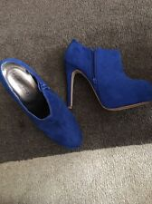 Ladies Blue Suede Ankle Boots