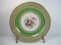 TIRSCHENREUTH BAVARIA DRESDEN FLOWERS HEAVY GOLD FILIGREE DINNER PLATE