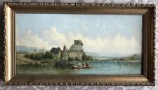 Boats and people on a lake oil on canvas, BY ALFRED VICKERS, 1786 - 1868 antique
