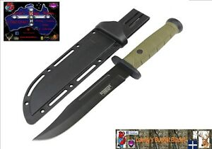 """Defender Xtreme 13""""Tactical Hunting Knife Green ABS Handle Stainless Steel Blade"""