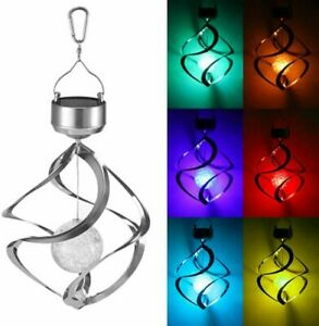 Solar Powered Colour Changing LED Hanging Saturn Wind Spinner Light Garden Yard
