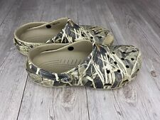 Crocs Real Tree Camo Mens Size 11 Woodland Green Tan Slip On Shoes