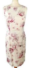 Vestido De Fiesta Hobbs Talla 10 Blanco Rosa Sin Mangas Floral De Verano Boda Equipada