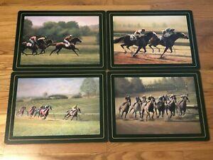 Pimpernel Vintage Cork Back Place mats Horse Racing Set of 4