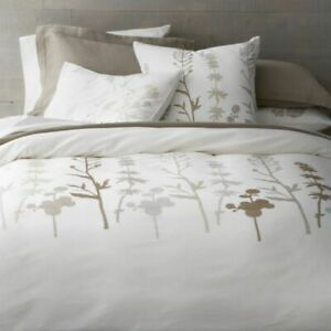 """Crate & Barrel Woodland King Duvet Cover Embroidered 106"""" x 96"""" New"""
