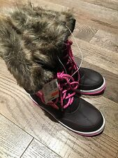 NWT JUSTICE Girls Size 3 Youth Fur Short Pink Winter  Trendy Boots  Shoes NEW