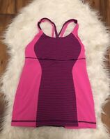 Lululemon Racerback Tank Top pink burgundy striped built in Bra Yoga Gym ~ X6