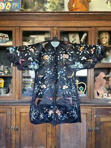 antique chinese embroidered floral moth silk robe Qing Butterfly All Over