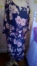 M&S DRESS SIZE 20 WITH STRETCH BLUE MIX WEDDING MOTHER OF THE BRIDE NEW £39.50