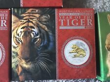 2010 Australian Lunar Year of the Tiger 1oz Gilded Proof Coin Boxed with COA