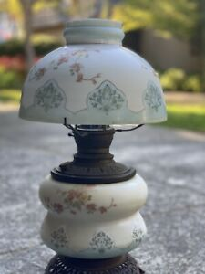 Antique Kerosene Oil Lamp Fall Leaves Blue Banner Matching Shade Marked TRENTON