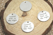 10pcs second star to the right charm silver tone message peter pan charm pendant