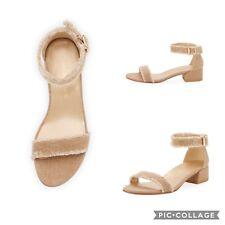 Stuart Weitzman 6 Nudistchains Canvas Gold Sandals Fringe Rhinestone Block Heel