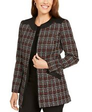 NWT KASPER  BLACK RED TWEED  CAREER  LONG JACKET BLAZER SIZE 16 $139